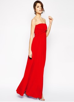 A-Line/Princess Strapless Floor-Length Chiffon Evening Dress With Ruffle Split Front