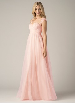 A-Line/Princess Sweetheart Floor-Length Tulle Prom Dress With Ruffle