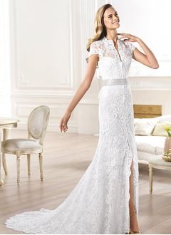 Sheath/Column V-neck Court Train Lace Wedding Dress With Beading Split Front