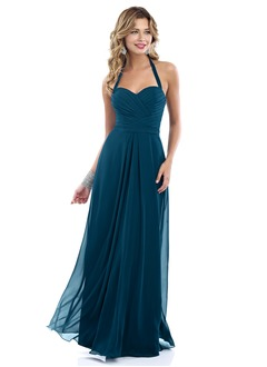 A-Line/Princess Sweetheart Halter Floor-Length Chiffon Bridesmaid Dress With Ruffle
