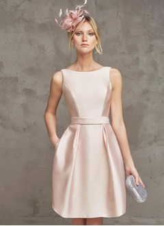 A-Line/Princess Scoop Neck Knee-Length Satin Cocktail Dress  ...