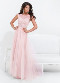 A-Line/Princess Scoop Neck Sweep Train Tulle Evening Dress With Beading