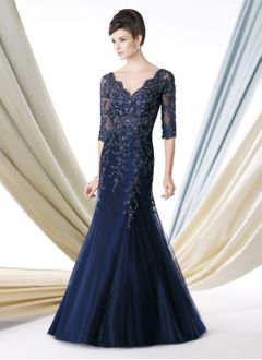 Trumpet/Mermaid V-neck Floor-Length Tulle Charmeuse Lace Mother of the Bride Dress With Beading
