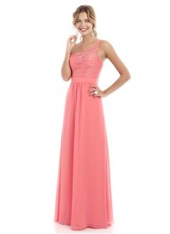 A-Line/Princess One-Shoulder Floor-Length Chiffon Lace Bridesmaid Dress