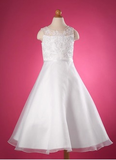 A-Line/Princess Scoop Neck Floor-Length Organza Satin Flower Girl Dress With Lace Beading