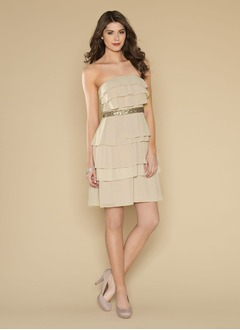 Sheath/Column Strapless Short/Mini Chiffon Homecoming Dress With Sequins Cascading Ruffles