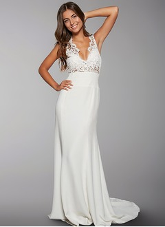 Sheath/Column V-neck Sweep Train Charmeuse Wedding Dress With Lace