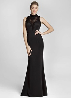 Sheath/Column High Neck Sweep Train Satin Evening Dress With Lace