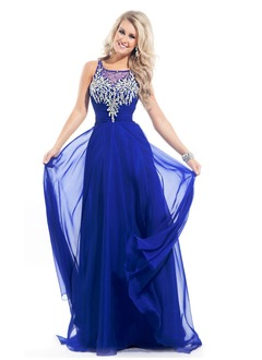 A-Line/Princess Square Neckline Sweep Train Chiffon Prom Dress With Beading