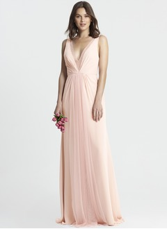 A-Line/Princess V-neck Floor-Length Chiffon Tulle Bridesmaid Dress With Ruffle