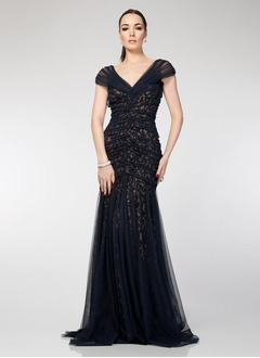 Trumpet/Mermaid V-neck Sweep Train Tulle Lace Evening Dress With Ruffle