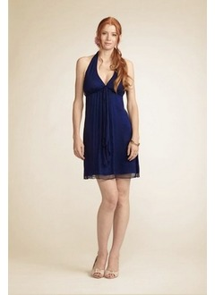 Empire Halter Short/Mini Chiffon Bridesmaid Dress With Flower(s) Cascading Ruffles