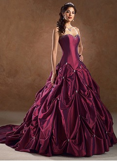 Ball-Gown Strapless Sweetheart Cathedral Train Taffeta Wedding Dress With Ruffle Beading