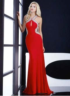 Sheath/Column V-neck Sweep Train Chiffon Evening Dress With Beading