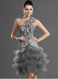 A-Line/Princess One-Shoulder Knee-Length Taffeta Tulle Cocktail Dress With Beading Flower(s) Cascading Ruffles