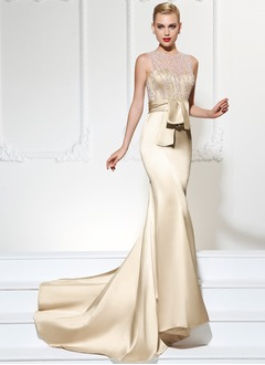 Trumpet/Mermaid Scoop Neck Court Train Satin Evening Dress With Lace Beading (0175119916)