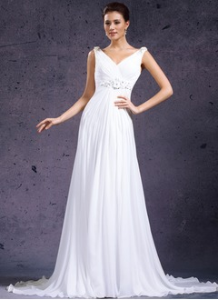 A-Line/Princess V-neck Sweep Train Chiffon Tulle Wedding Dress With Beading Flower(s)
