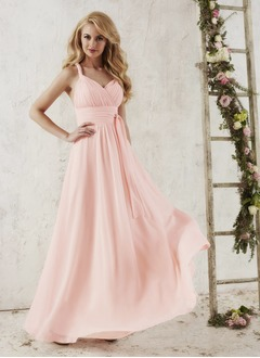 Empire Sweetheart Floor-Length Chiffon Bridesmaid Dress With Ruffle Bow(s)