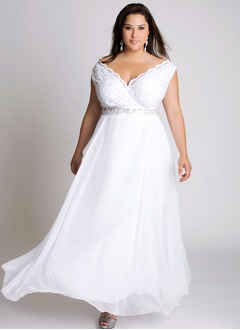 A-Line/Princess V-neck Ankle-Length Chiffon Wedding Dress With Lace Beading