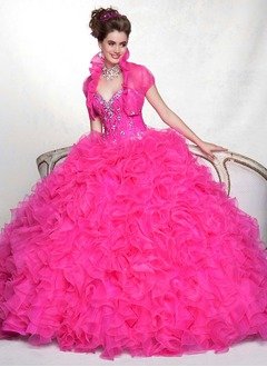 Ball-Gown Sweetheart Floor-Length Organza Charmeuse Quinceanera Dress With Beading