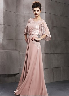 A-Line/Princess Scoop Neck Floor-Length Chiffon Evening Dress With Ruffle Beading Appliques Lace