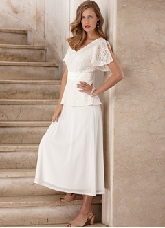 A-Line/Princess V-neck Ankle-Length Chiffon Lace Mother of the Bride Dress