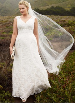 A-Line/Princess V-neck Floor-Length Lace Wedding Dress With Beading