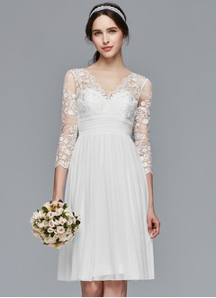 A-Line/Princess V-neck Knee-Length Chiffon Lace Wedding Dress With Ruffle (0025104310)