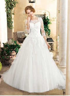 Ball-Gown Scoop Neck Chapel Train Tulle Lace Wedding Dress With Beading Appliques Lace