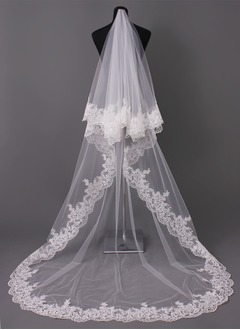 One-tier Cathedral Bridal Veils With Lace Applique Edge (00605003689)