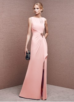 Sheath/Column Scoop Neck Floor-Length Jersey Evening Dress With Ruffle Beading Split Front
