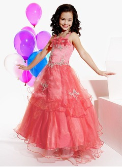 A-Line/Princess Strapless Floor-Length Organza Satin Flower Girl Dress With Lace Beading