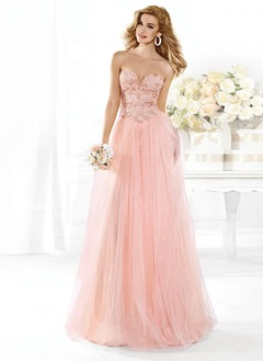 A-Line/Princess Strapless Sweetheart Floor-Length Tulle Lace Prom Dress With Beading