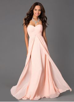 A-Line/Princess Strapless Sweetheart Floor-Length Chiffon Bridesmaid Dress