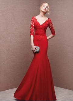Trumpet/Mermaid V-neck Floor-Length Chiffon Lace Evening Dress With Appliques Lace