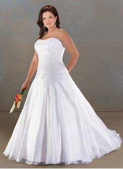 A-Line/Princess Strapless Sweetheart Cathedral Train Organza Satin Wedding Dress With Ruffle Lace Beading