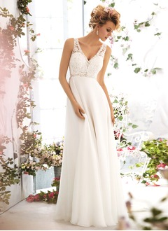 Empire V-neck Sweep Train Chiffon Wedding Dress With Lace Beading