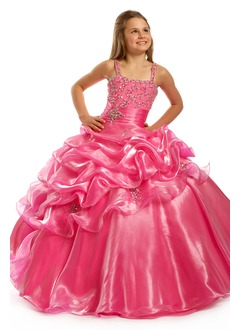 A-Line/Princess Strapless Floor-Length Organza Satin Flower Girl Dress With Ruffle Beading