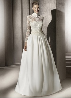 Ball-Gown High Neck Sweep Train Satin Lace Wedding Dress