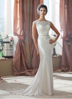 Sheath/Column Scoop Neck Sweep Train Charmeuse Wedding Dress With Lace Beading