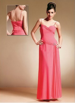 Sheath/Column Sweetheart Floor-Length Chiffon Charmeuse Mother of the Bride Dress With Ruffle