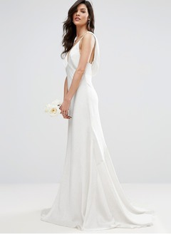 A-Line/Princess V-neck Sweep Train Charmeuse Wedding Dress
