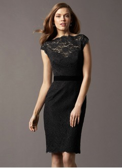 Sheath/Column Knee-Length Lace Cocktail Dress