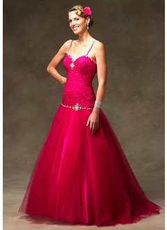 Ball-Gown V-neck Sweep Train Satin Tulle Quinceanera Dress With Beading