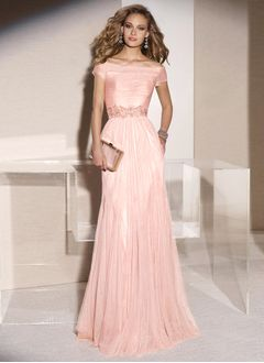 A-Line/Princess Off-the-Shoulder Sweep Train Tulle Evening Dress With Ruffle Beading Appliques Lace
