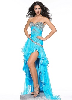 A-Line/Princess Strapless Sweetheart Asymmetrical Chiffon Prom Dress With Ruffle Beading Sequins Cascading Ruffles