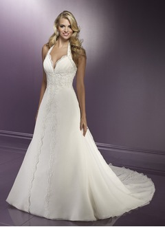 A-Line/Princess Halter Chapel Train Organza Satin Wedding Dress With Ruffle Lace Beading