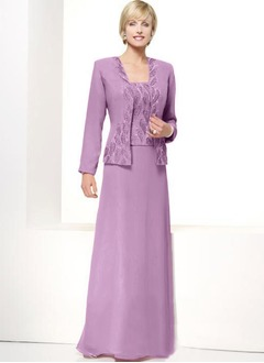 A-Line/Princess Floor-Length Chiffon Mother of the Bride Dress With Lace