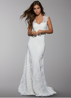 Sheath/Column V-neck Sweep Train Lace Wedding Dress With Lace