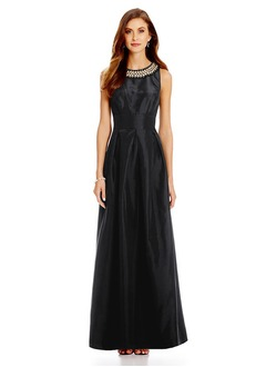 A-Line/Princess Scoop Neck Floor-Length Taffeta Mother of the Bride Dress With Ruffle Beading